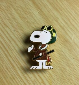 Vintage 80/'s Peanuts Snoopy Red Baron Flying Ace Aviator Pin