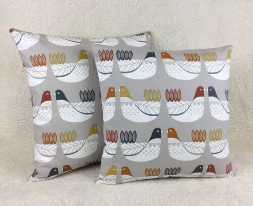 Cluck Cluck in Tangerine Fabric Cushion Cover Nordic Collection By Iliv Handmade