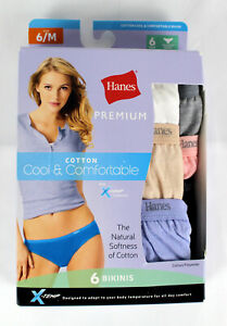 Hanes Womens Cotton Bikinis Size 6 M Cool Comfort Assorted Colors 6 Pack NEW