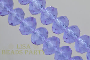 50pcs-4x6mm-Faceted-Rondelle-Crystal-Glass-Loose-Spacer-Bead-Violet-Craft