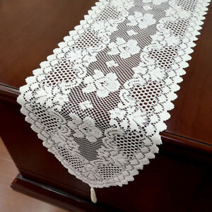 White-Vintage-Lace-Table-Runner-Dresser-Scarf-Oval-Doilies-Wedding-Decor-12-034-x59-034
