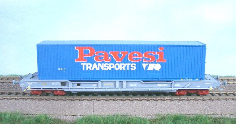 LS Models novatra 30291 SNCF 4 ACH container carrello portante km novatra Models GRIGIO 40' Pavesi ep5 NUOVO 5829fd