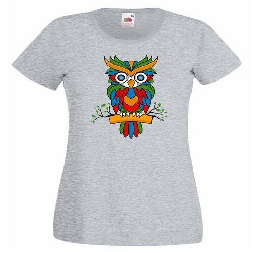 Owl Colourful Ladies PRINTED T-SHIRT Animal Perch Perching Branch