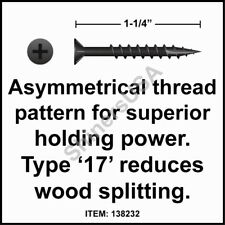 """#9 x 2-1//2/"""" Phillips Flat Particle Board Screws Type 17 Point,Nibs Zinc 5lbs Bx"""