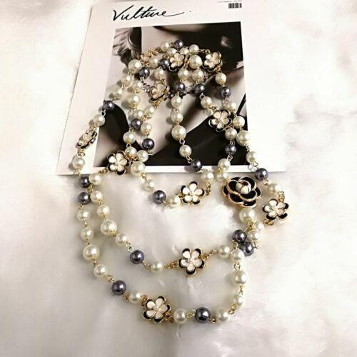 Funda Colorida de Lujo Perla Colgante Carta 5 Mujeres Collar Joyería CC Alta Calidad