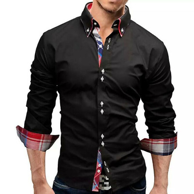 Ajustadas Ropa Para Hombre Camisa De Vestir Elegantes De Moda Tartán Mens Tops Ebay