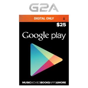 Détails Sur 25 Usd Google Play Store Usa Carte Cadeau 25 Dollar Google Play Android Code Us Afficher Le Titre Dorigine