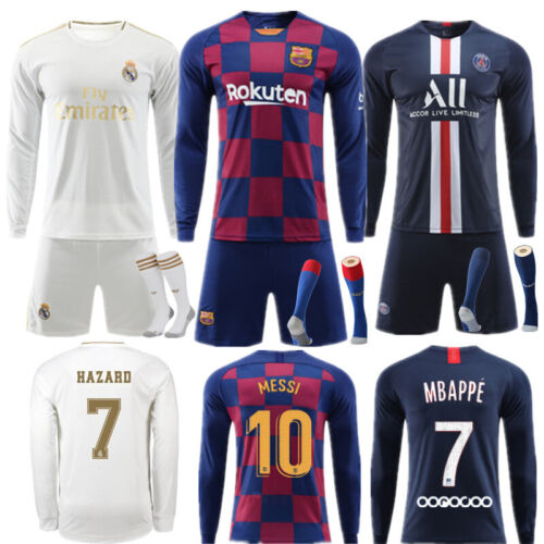 2020 Youth Football Kit Kids Boys Long Sleeve Soccer Training Jerseys Outfit