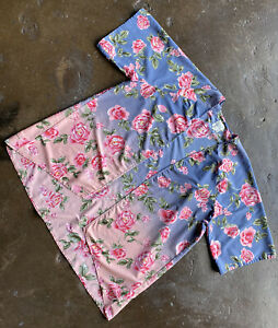 Billabong Blue Pink Floral Kimono Floral Duster Small NWOT