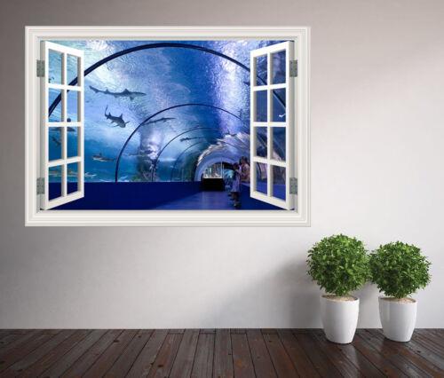 Génial Tunnel immergé requins dauphins Fenêtre Autocollant Mural 47007889ww