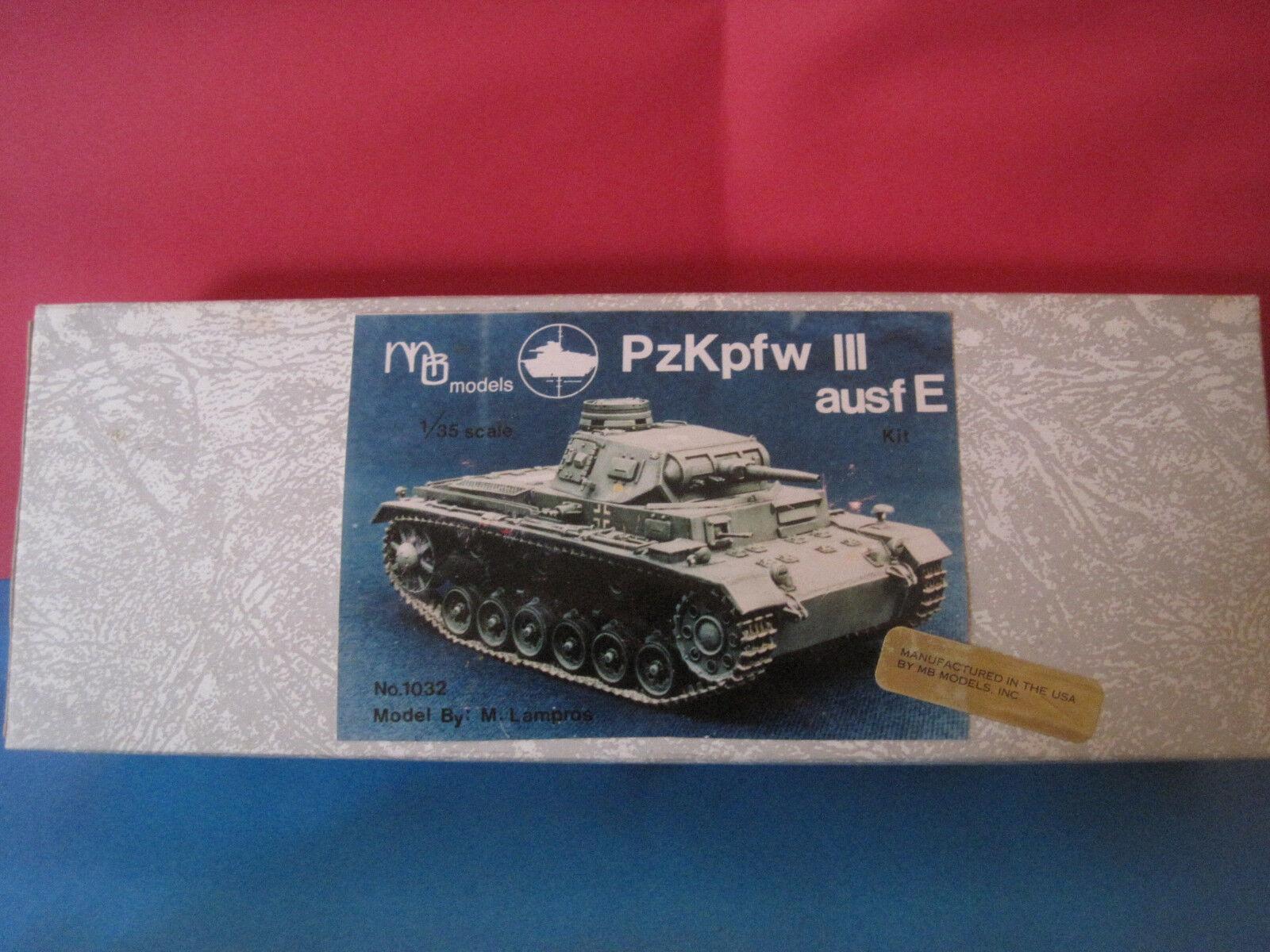 tomamos a los clientes como nuestro dios MB MB MB MODELS KIT RESINE METAL A MONTER CHAR TANK PzKpfw III ausf E  ech 1 35  tienda en linea