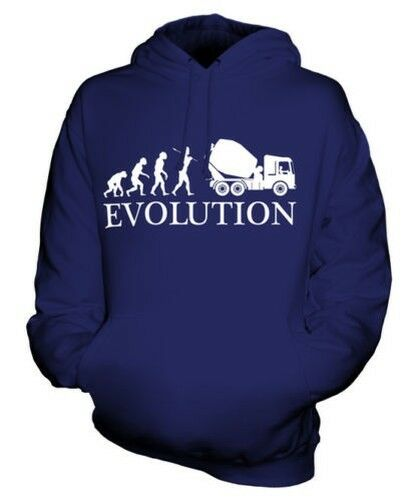 Betoniera Evolution Of Man Unisex Felpa con Cappuccio Maglia Idea Regalo