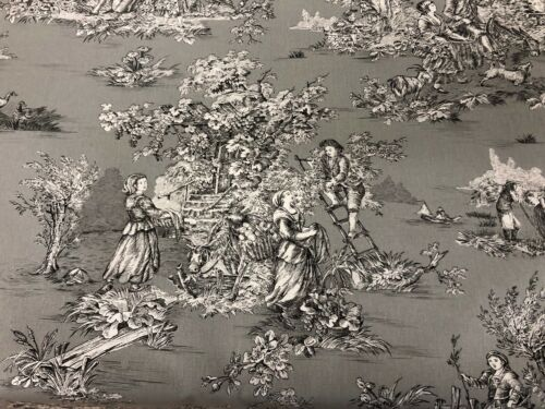 "Toulouse Toile  De Jouy Grey  Cotton 280cm//108/"" Wide Curtain// Upholstery Fabric"