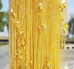 Lots-of-10pcs-Gold-Plated-chain-With-Clasp-Chain-Finding-43cm-2mm