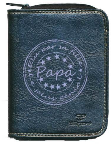 Porte monnaie porte carte noir Elu par ses fille papa genial Fetes des peres