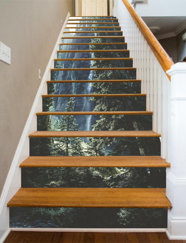 3D Berg Baum 572 Stair Risers Dekoration Fototapete Vinyl Aufkleber Tapete DE
