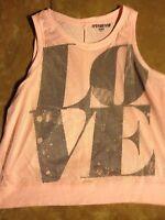 Seventeen Women's LOVE Mesh PINK Tank Shirt Size L EUC