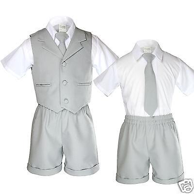Boy Infant Toddler Eton Formal 4 piece Vest Shorts Suit New born to 4T Lt. Gray
