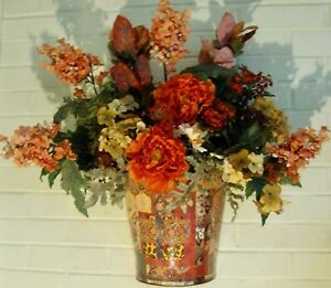 Silk flowers metal pail pocket medley door wall city chic country image is loading silk flowers amp metal pail pocket medley door mightylinksfo
