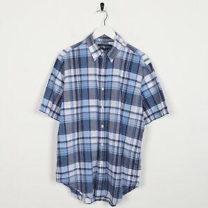 Vintage-Ralph-Lauren-Classic-Fit-camisa-de-cuadros-de-manga-corta-azul-Mediano-M