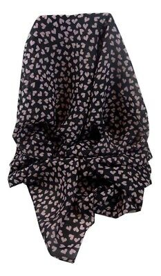 """""""simply Hearts"""" Georgette Scarf Black And Pink By Pashmina & Silk"""