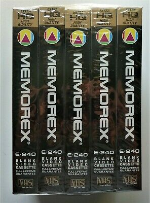 5 X Memorex E-240 Blanc Video Cassette 4 Hours - New And Sealed Precioso Lustre