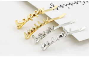 Girl-039-s-Hair-Clip-Gold-Silver-Letter-Bobby-Pin-Hairpin-Hair-Accessory-Jewelry