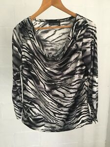 Isabella-Rodriguez-Animal-Print-Cowl-Neck-3-4-Sleeve-Stretch-Size-L-Black-White