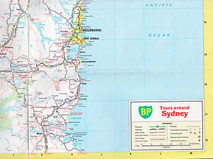 BP-Tours-Around-Sydney-Road-Map-Vintage-1980-Folding-Paper-Map-Full-Colour