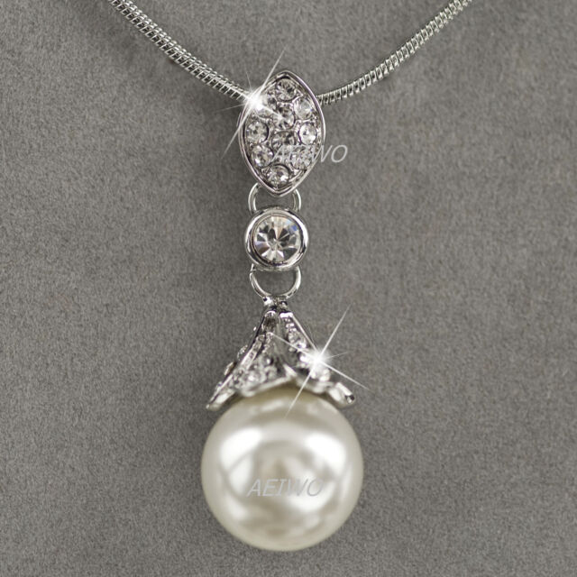 18K WHITE GOLD GF MADE WITH SWAROVSKI CRYSTAL PEARL PENDANT NECKLACE