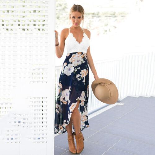 Womens Floral Summer Backless Beach Long Skirt Evening Cocktail Party Dress Boho