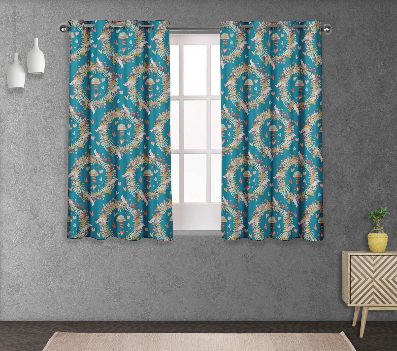S4sassy Mushroom & Wreath Bedroom short & long Window  Eyelet Curtains -FL-844B