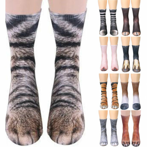Trendy 3D Animal Print Sock Women Unisex Adult Kid Paw Crew Funny Cotton Sock BY