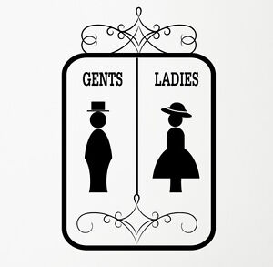 Image is loading Gents-amp-Ladies-Bathroom-Toilet-WC-Sign-Wall-