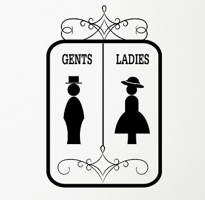 Gents & Ladies Bathroom Toilet WC Sign Wall Door Decal Sticker Art. Any Colour.