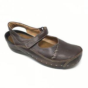 Women-039-s-Wolky-Clogs-Sandals-Shoes-Sz-42-EU-10-5-11-Walking-Wedge-Brown-Strap-A11