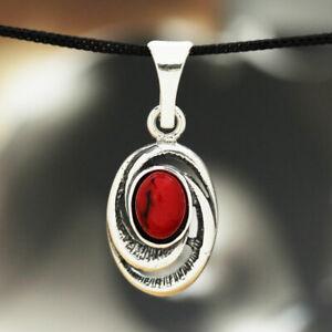 Koralle-Silber-925-Anhaenger-Sterlingsilber-Damen-Schmuck-A194