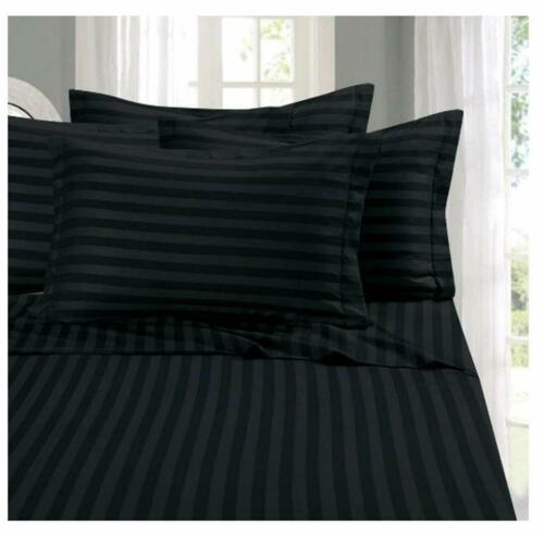Queen Size 4 PCs Sheet Set Egyptian Cotton 1000 Thread Count Black Stripe