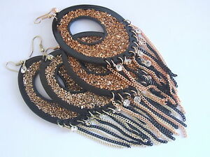 Yellow-amp-Rose-Gold-Tone-Glitter-With-CZ-Tassel-Bling-Hook-Oval-Glitzy-Earrings