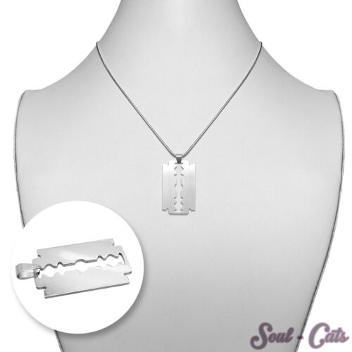 1 Anhänger Rasierklinge mit oder ohne Kette Edelstahl Halskette 50cm
