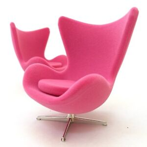 Miniature Egg Chair Pink Suede Mid Century Designer Chairs One