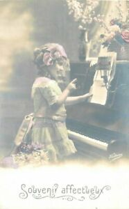 1920s-Little-Girl-Hand-Tint-Piano-Music-Interior-RPPC-Photo-Postcard-7431