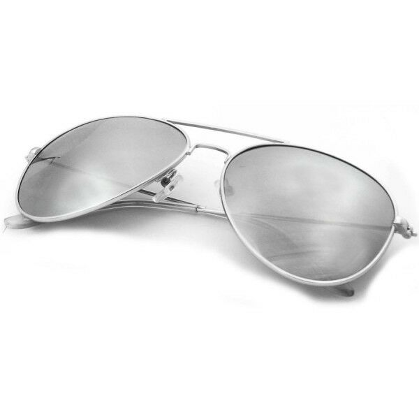 Large Silver Mirror Lens Metal Aviator Trendy Hipster Big Fashion ...