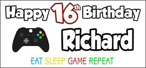 Xbox-Controller-16th-Birthday-Banner-x-2-Party-Decorations-Boys-Girls-ANY-NAME