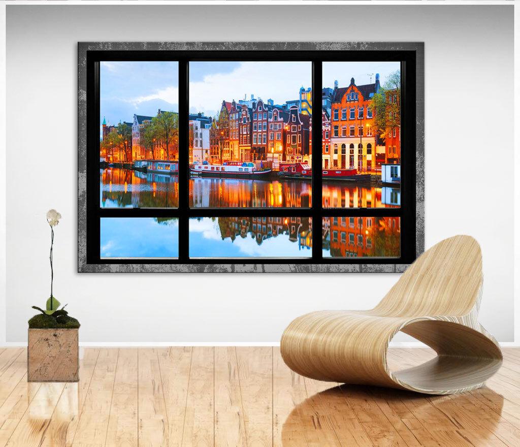 Wandbilder auf Leinwand Fensterblick Städte Häuser Bilder Kunstdruck D1213