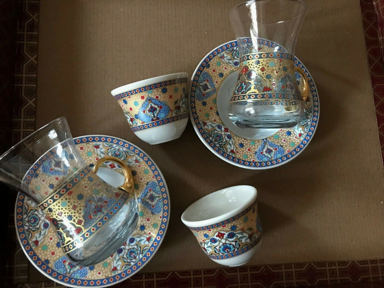 Turkish Tea Café Mirra Zamzam Set 6 Ceramic Cups verre tasses soucoupes Or Bleu