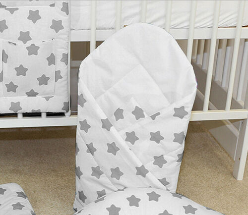 BABY SWADDLE WRAP NEWBORN BLANKET  SLEEPING BAG BABYMAM BIG GREY STARS ON WHITE