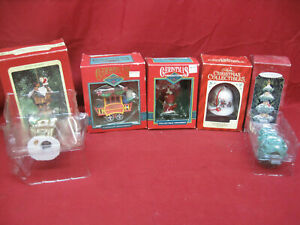 Vintage-1990-039-s-Lot-of-5-NOS-Boxed-Christmas-Ornaments