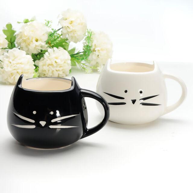 Lovely White / Black Cat Coffee Milk Light Ceramic Lovers Mug 420ml Couples Cup