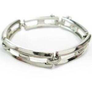 Vintage-80s-90s-Monet-Silver-Tone-Rectangle-Chain-Link-Bracelet-7-034-Safety-Clasp